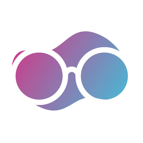 Glasses icon with pink/purple/blue gradient background • Professionalism - Service provided by skilled, trained, and evolving fitness professionals • CYCLEdelic • Lakeland's Premiere Indoor Cycling Concourse • Spinning, Spin Class, Fitness, Fun Exercise