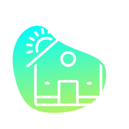 Home icon with blue/lime green gradient background • Home Feel - the place where we know you, we're happy to see you, and we make it feel like YOURS • CYCLEdelic • Lakeland's Premiere Indoor Cycling Concourse • Spinning, Spin Class, Fitness, Fun Exercise
