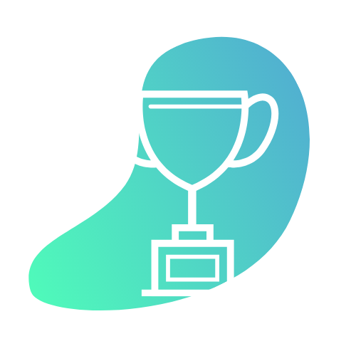 Trophy icon with blue/lime green gradient background • Results & Rewards - Getting you the results you're after while acknowledging and rewarding your efforts along the way • CYCLEdelic • Lakeland's Premiere Indoor Cycling Concourse • Spinning, Spin Class, Fitness, Fun Exercise