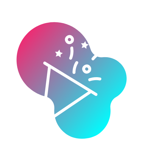 Party confetti icon with pink/purple/blue gradient background • Fun - motivating staff who keep things fresh, upbeat, and entertaining • CYCLEdelic • Lakeland's Premiere Indoor Cycling Concourse • Spinning, Spin Class, Fitness, Fun Exercise